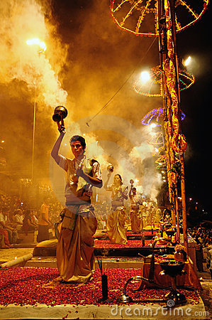 Ganga Aarti at Varanasi Editorial Photo
