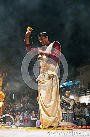 Ganga Maha Aarti ceremony Editorial Photo