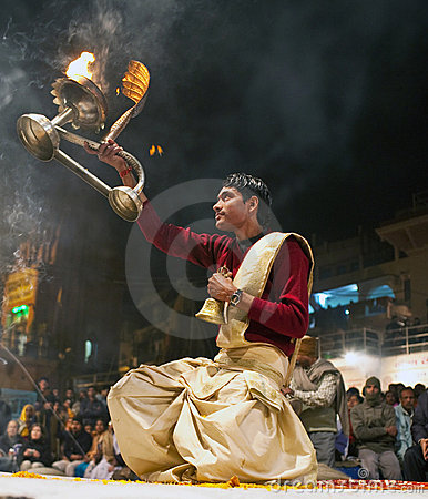 Ganga Maha aarti ceremony Editorial Stock Image