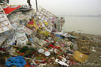 Ganga River Pollution In Kolkata. Editorial Stock Image