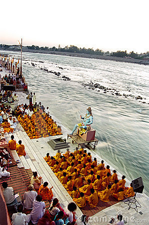 Ganges River Puja Ceremony, India Editorial Photography