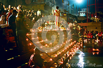 Ganges River Puja Ceremony,  Varanasi India Editorial Image