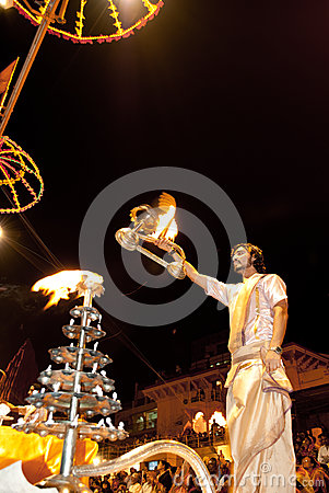 Ganges River Puja Ceremony, Varanasi India Editorial Photo