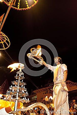 Ganges River Puja Ceremony, Varanasi India Editorial Photo