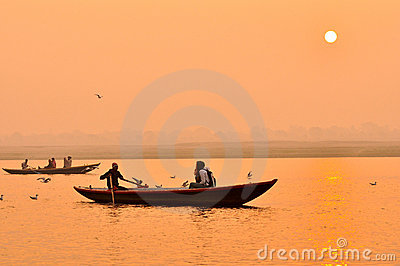 The Ganges river at sunset,India Editorial Image