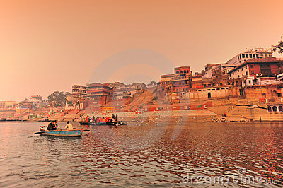 The Ganges river at sunset,India Editorial Stock Image