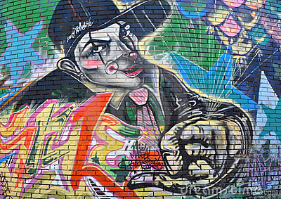 Gangster Clown Graffiti Editorial Image