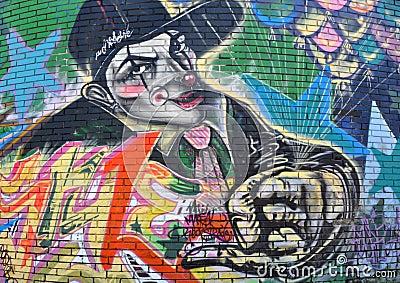 Gangster Clown Graffiti Editorial Image