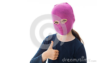 Gangster Girl giving thumbs up sign