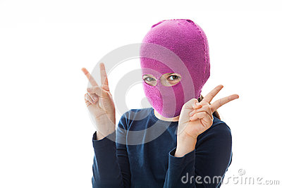 Gangster Girl giving Victory sign