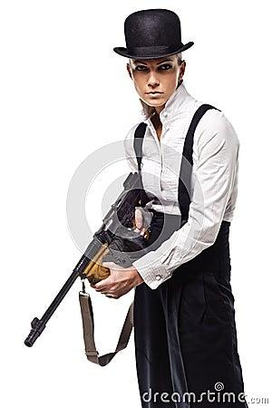 Gangster girl holding thompson machine gun
