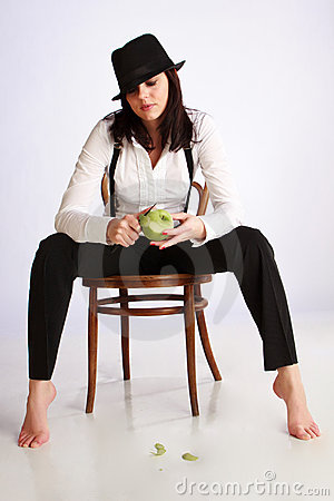 Gangster-girl sitting on chair