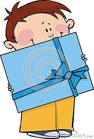 Garçon avec le cadeau
