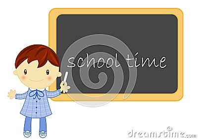 Garçon d école avec le tableau noir