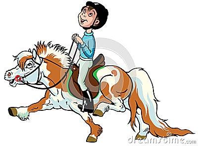 De vecteur: garçon de bande dessinée montant le poney de shetland