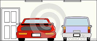 Garage med bilar