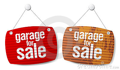 Garage for sale signs