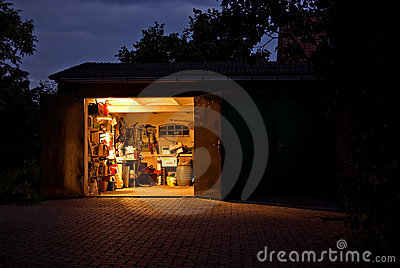 Garage workshop at night