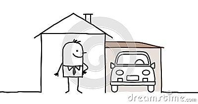 Garażu domu mężczyzna