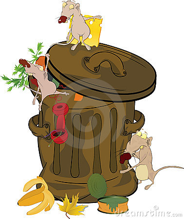Garbage bank and rats. Cartoon