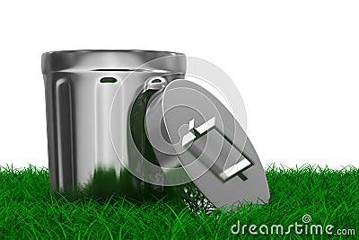 Garbage basket on grass