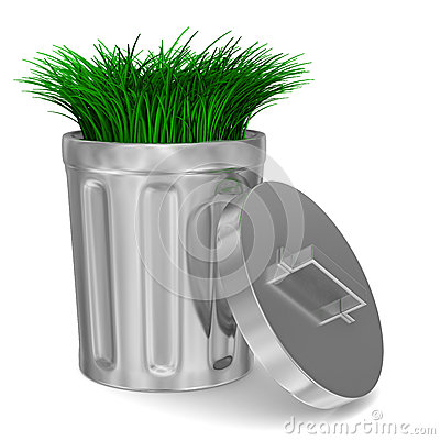 Garbage basket and grass on white background