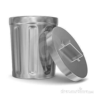 Garbage basket on white background