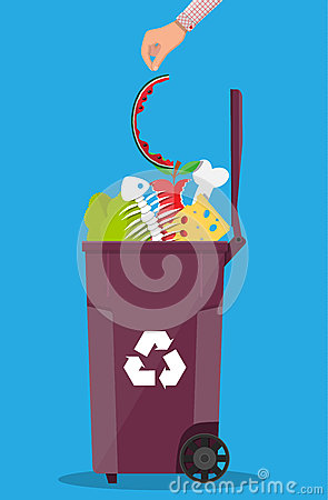 Free Garbage Bin Container Full Of Junk Food Royalty Free Stock Photo - 93992725