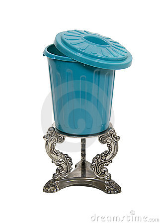 Garbage can on Silver Pedestal