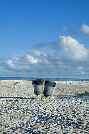 Garbage cans on beach