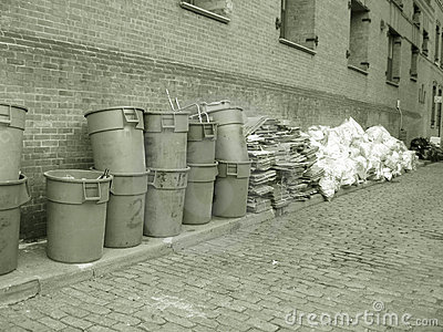 Garbage cans in sepia