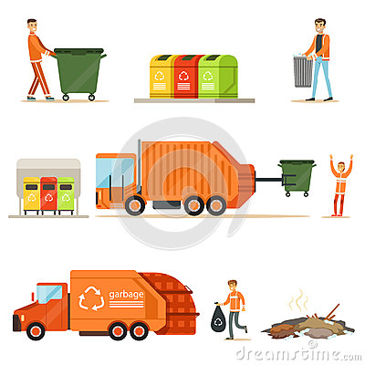 Garbage Collector At Work Series Of Illustrations With Smiling Recycling And Waste Collecting Worker Vector Illustration