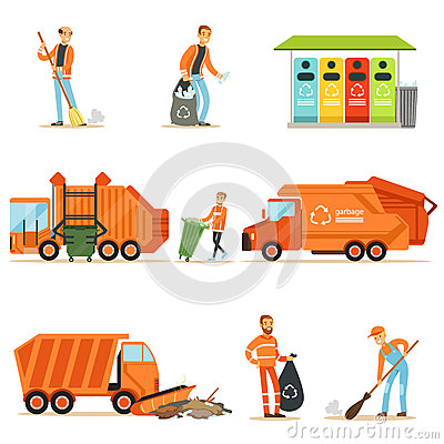 Garbage Collector At Work Set Of Illustrations With Smiling Recycling And Waste Collecting Worker Vector Illustration