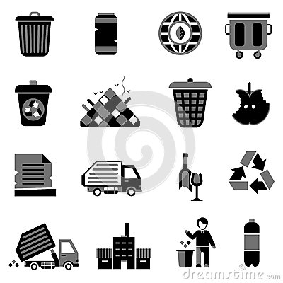 Free Garbage Icons Black Royalty Free Stock Images - 49818449