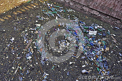 Garbage in lake Stock Photo