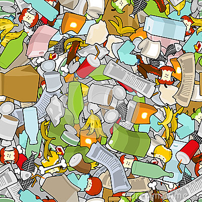 Free Garbage Texture. Rubbish Seamless Pattern. Trash Ornament. Litter Background. Peel From Banana And Stub. Tin And Old Newspaper. B Stock Images - 86932374