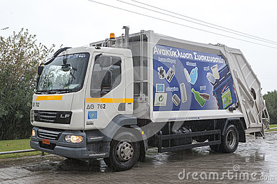 Garbage truck Editorial Stock Photo
