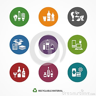 Free Garbage Waste Recycling Icons Round Royalty Free Stock Photo - 115018865