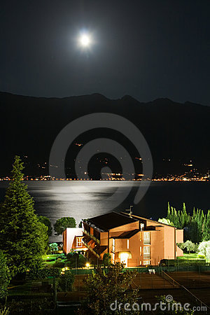 Garda lake at night Stock Photo