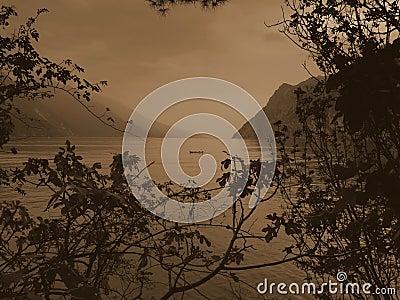 Garda lake sepia