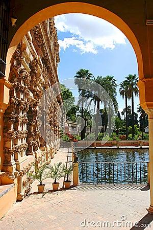 Garden in Alcazar of Seville Spain