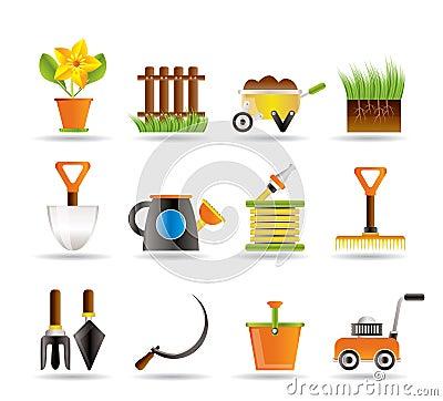 Free Garden And Gardening Tools Icons Stock Photos - 15777693