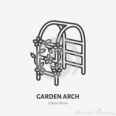 Garden arch with clambering plant flat line icon. Wedding flower decorations sign. Thin linear logo for gardening Vector Illustration