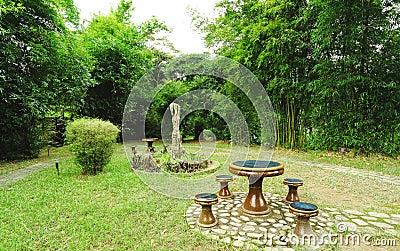Garden in bamboo forest