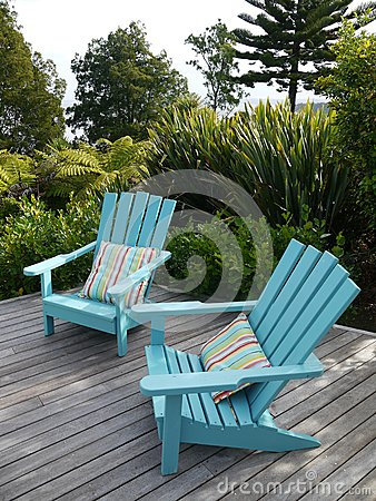 Free Garden: Blue Chairs On Wooden Deck Stock Images - 28057224