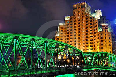 Garden bridge of Shanghai in night lighting