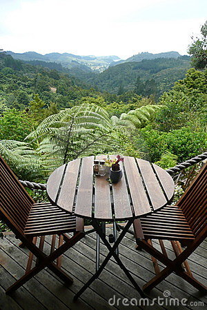 Garden cafe: table with view