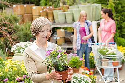Garden centre senior lady hold potted flower
