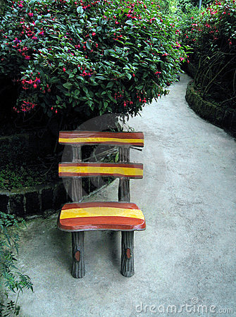 Garden chair on concrete patio