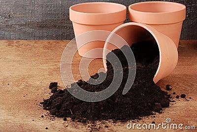 Garden Clay pot with spilled dirt